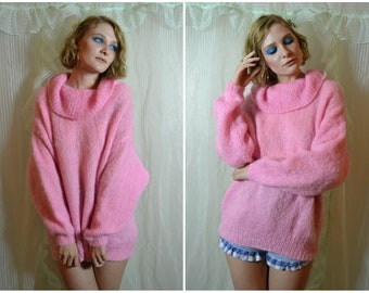 80s Mohair Wool pastel pink Paris Texas sweater with foldover neck and balman sleeves