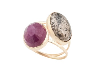 Ruby and Pyrite Cleo Ring, Double Stone Stacker Ring Handmade from Recycled 14k Gold