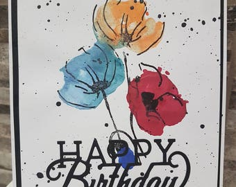 Happy Birthday card, hand made, hand stamped, card with flowers