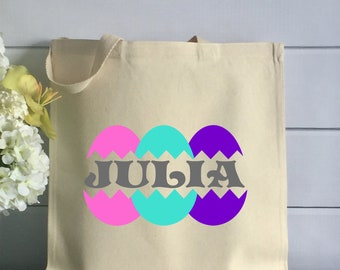 Personalized Easter Tote Bag with Colorful Eggs (Item 1268J)