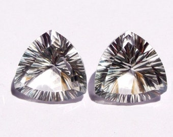 1 Pair Natural Rock Crystal Quartz Concave Cut Trillion Briolettes Size 13x13mm Approx