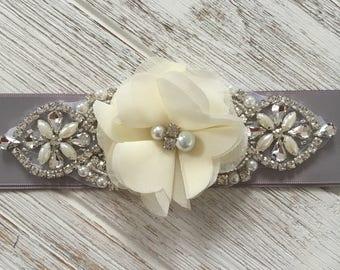 Gray Crystal Wedding Belt, Gray Bridal Sash, Gray Bridesmaid Belt Sash, Rhinestone Belt Sash, Ivory Flower Girl Sash Belt, Gray and Ivory