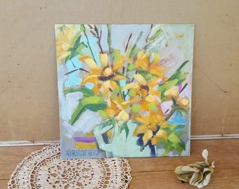 Sunflowers on canvas board/ original oil painting by me