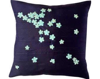 Kyoto Spring (large) cushion, blues and silver on navy dupion
