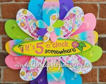 "Adorable ""It's  5 O'clock Somewhere "" Flip Flop Wreath Door Wall Decor Unique Gift Margaritaville"