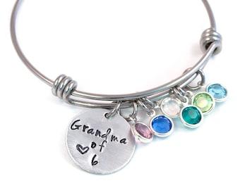 Birthstone Grandma Expandable Bangle, Grandmother's Bracelet, Adjustable Bangle, Expandable Bracelet