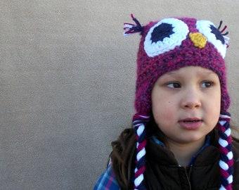 Owl Hat in Magenta, Woodland Bird Stocking Capfor Girls, Newborn Girls, Toddler Girls