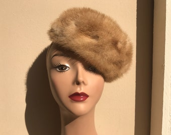 Vintage Natural Mink Pillbox Hat with Tags