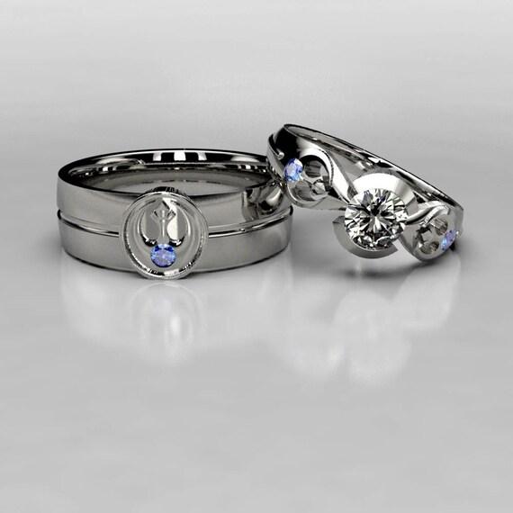 Star Wars Rebel Alliance Sapphire Wedding Rings Matching
