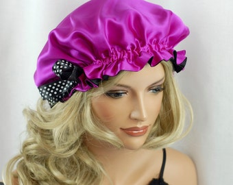 Mulberry Silk Sleep Bonnet Hot Pink and Black, Fully Adjustable Sleep Cap, Hair Bonnet, Reversible Sleep Cap for Hair Care
