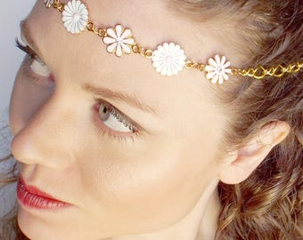 Flower Circlet and Earrings in Pretty Pale Pinks and Whites