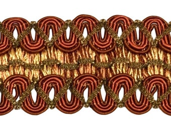 Vintage 2 Inch (5cm) Wide Brown, Light Gold Gimp Braid Trim - English Toffee 08 (sold by The Yard)