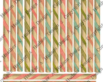 Vintage Candy Canes pink aqua coral green peppermint sticks Tags Ephemera Ornaments Digital Collage sheet Printable  Shabby Chic Christmas