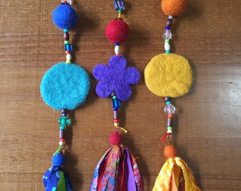 Fabric and Wool Felted Ornament - decoration or gift