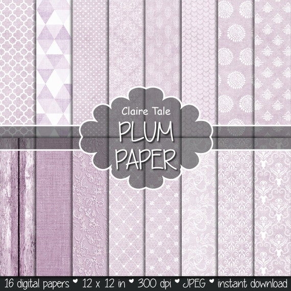 "Plum digital paper: ""PLUM WEDDING"" with plum damask, lace, quatrefoil, flowers, hearts, polka dots, triangles, stripes, linen, wood"