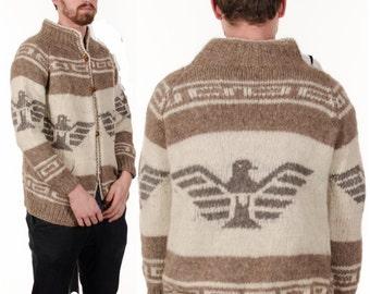 COWICHAN Sweater Jacket THUNDERBIRD Vintage Weaved Intarsia Indian - Aztec Wool Knit Shawl Curl Collar Cardigan Coat Topper Unisex s m l