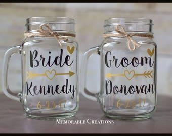 FAST SHIPPING-Personalized Rustic Arrow Bride & Groom Wedding Glasses, Mason Jar Mugs