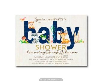 Woodland Shower Invitation    Navy Baby Shower invite   Invitation    Baby Boy Shower   Printable   Invitation Navy Blue 0498navy