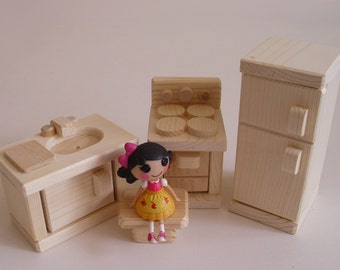Natural Wood Toy Mini Kitchen Appliances, Dollhouse Stove, Sink, Fridge, Waldorf inspired, Kids gift, Jacobs Wooden Toys