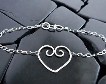 Sterling Silver Filigree Heart Bracelet - Ready to Ship - Delicate Bracelet - Silver Heart Bracelet - Minimalist Bracelet - Girlfriend Gift