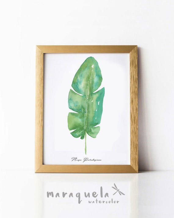 BANANA LEAF I Watercolor, Tropical Plants Botanical art, Green leaf Nature art, tropical decor, Monstera leaves watercolor original painting