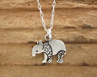 Sterling Silver Tapir Necklace - Cute Tapir Pendant