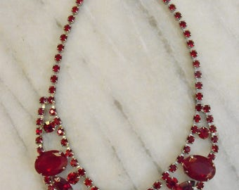 Vintage Faux Ruby Necklace