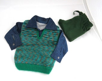baby vest/knitted baby boy top/baby knitted sweatre/blue green knitted baby boy vest/ 6-9 month/baby boy gift/baby clothes.sleeveless knit