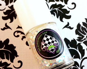 Iridescent Glitter Nail Polish Num. NP25 Sunken Treasure – Clearcoat with Opal + Pearl Glitters Mermaid Nail Lacquer  – Vegan & 5 Free