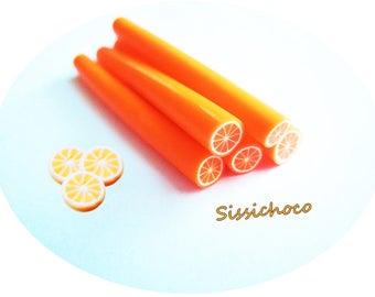 x 3 orange clay canes polymer