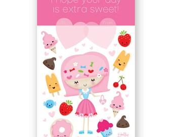 "Set of 12 - Sweet Kawaii Valentine printed Postcards - 3"" x 5"" - unique and cute - Harajuku - decora"