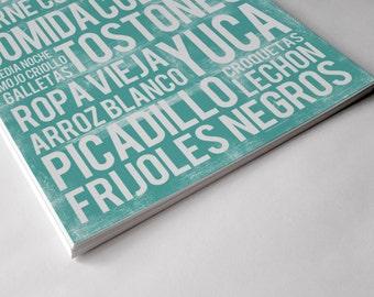 Cuban Food Poster - Teal - Word Art - Food Art Print