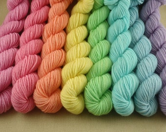 Mini Skeins Pastel Rainbow - Set of 8 - Hand Dyed Sport Weight Yarn - 100% Non Superwash Merino Wool