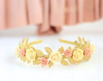 gift for boho wife leaf crown gold leaf headband rustic wedding headband leaf tiara gold leaf crown headpiece flower leaf tiara