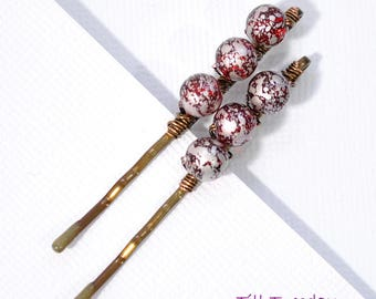 Beaded Bobby Pins Pair of Red Bobbies Beaded Bobbies Hair Beads Red Hair Pins Handmade Hair Pins for Sale Wire Wrapped Small Hair Pin