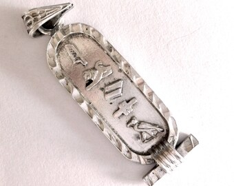 Sterling silver pendant with hieroglyphic: Egyptian symbols
