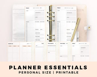 BUNDLE PERSONAL Size Printable Planner Inserts, Planner Essentials, Daily Planner, Weekly Planner, Monthly Planner