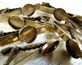 Half Dozen (6) 14mm Bezel Antiqued Brass Tie Clip, Tie Bar - Antique Brass w/15mm Bezel Setting - Perfect for Resin, Enameling