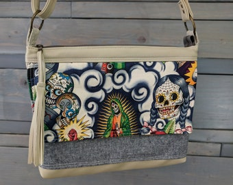 Sugar Skull Multi LARGE Emma Traverse Contigo Guadalupe Cross Body Purse