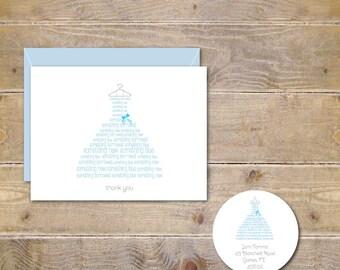 Something Borrowed, Something Blue, Bridal Shower Thank You Cards, Thank You Cards, Bridal Shower Thank You Notes