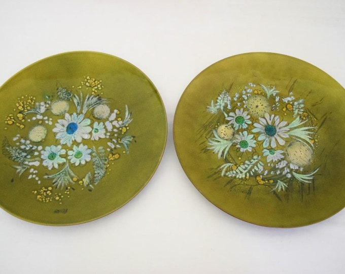 Rare Vintage 1950's Pair Sascha B. Brastoff Enamel Copper Floral Tray Wall Hanging Plaque Plate Set  MCM