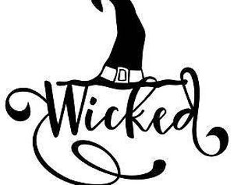 Hat Wicked Scroll vinyl decal  for cars walls yeti tumblers cups laptops windows j8  bumper sticker phones iPhones walls windows tumblers