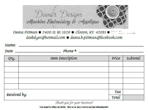 Custom Order Form  Ply Forms Order Form Book Receipt Sales