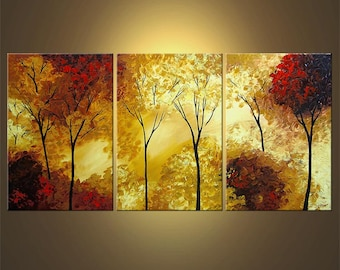 "Landscape Painting Blooming Trees Painting Original Palette Knife Painting 72"" x 36"" by Osnat - MADE-TO-ORDER"