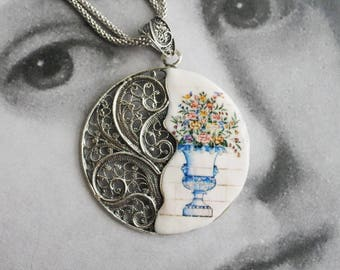 Necklace Portugal Silver Filigree Tiles ABRANTES Flower Vase Antique  -  Provence Limoges Majolica Italian Pottery Reversible Gift Box
