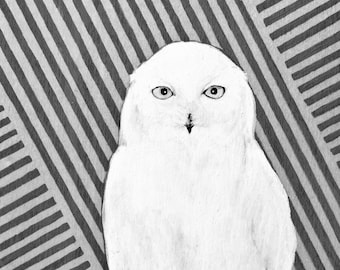 Snow Owl - Print of original painting by Ashleyspirals