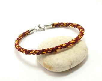 """Maroon and gold cotton cord bracelet, 9 inch men's large braclet size.  Item #Q-49  9"""""""
