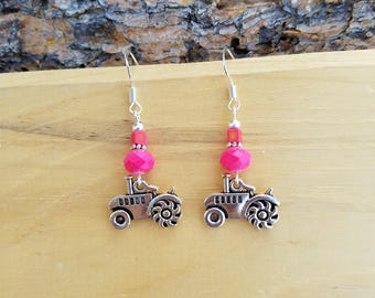 Pink Tractor Earrings, Hot Pink Tractor Sterling Silver Earrings, Pink Tractor Sterling Silver Earrings, Tractor Earrings