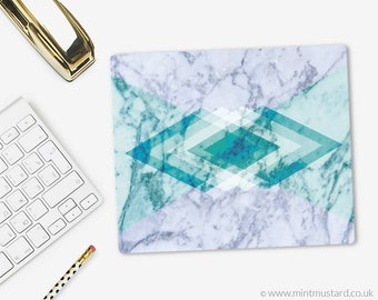 Geometric Marble Mouse Pad   Fabric Mouse Mat   Modern Mousepad   Office Decor   Teal   Aqua   Mint   Gift for her