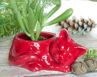 ceramic Kitty planter, handmade succulent planter air plant mini plant pot cat lover Ruby Red Housewarming gift desk acccessory decor
